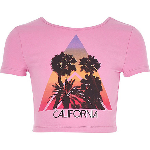 Girls pink 'California' print crop top