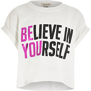 Girls white believe in yourself T-shirt