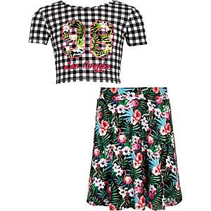 Ensemble jupe et crop top motif vichy noir pour fille