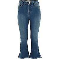 Girls dark blue cropped denim jeggings