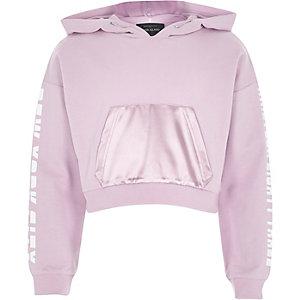 Girls purple print sleeve cropped hoodie
