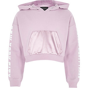 Girls purple print sleeve cropped hoodie