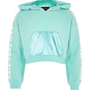 Girls turquoise print sleeve cropped hoodie