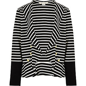 Girls black stripe drummer boy blazer