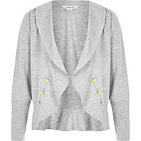 Girls grey ponte frill hem boy blazer