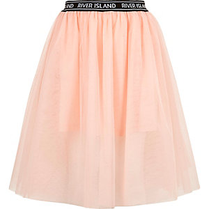 Girls light pink mesh ballet midi skirt