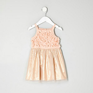 Mini girls pink flower prom dress