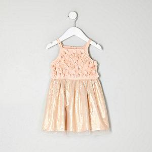Mini girls pink flower prom dress