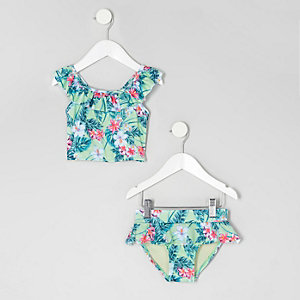Mini girls light green tropical tankini