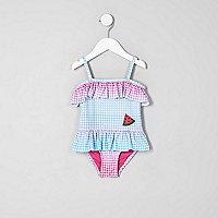 Mini girls blue gingham print frill swimsuit