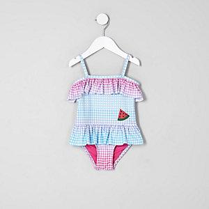 Mini - Blauw zwempak met gingham-ruit en ruches voor meisjes