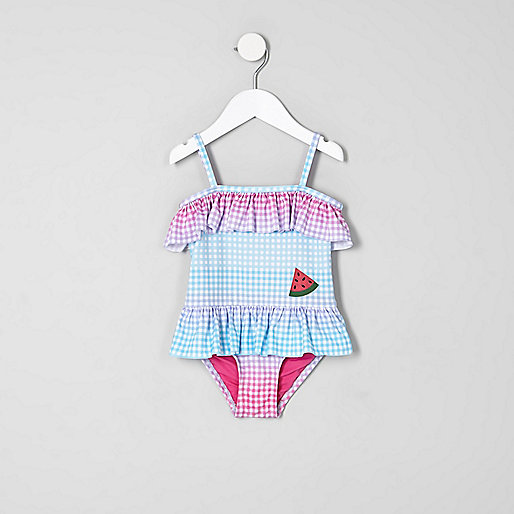 Mini girls blue gingham print frill swimsuit