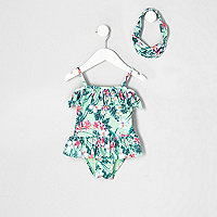 Mini girls light green tropical swimsuit