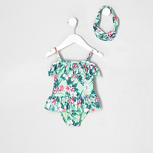 Mini girls light green tropical swimsuit