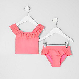 Mini girls pink frill tankini