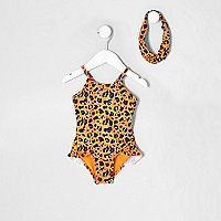 Mini girls orange leopard print swimsuit