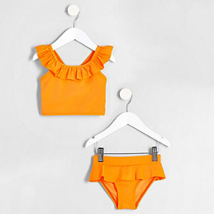 Mini girls orange frill trim tankini