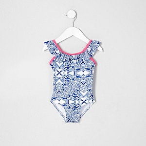 Mini girls blue aztec frill swimsuit