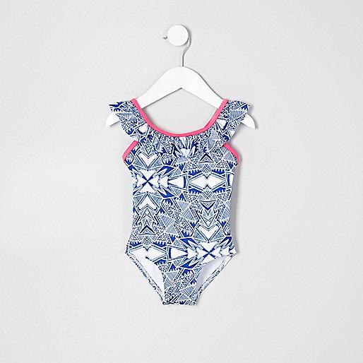 Mini girls blue aztec frill swimsuit