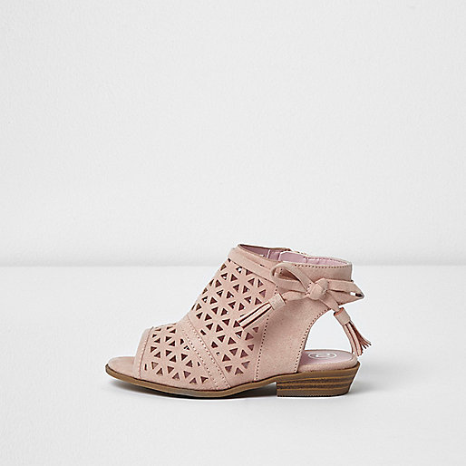Mini girls pink laser cut bow sandals