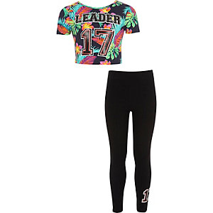 Girls black tropical print T-shirt outfit