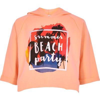 Koraalrode cropped hoodie met summer'-print voor meisjes