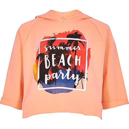 Girls coral 'summer' print cropped hoodie