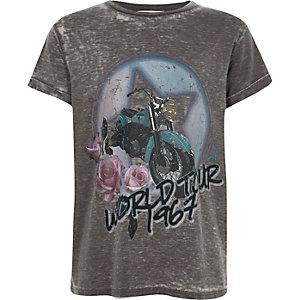 "Graues Rockband-T-Shirt mit ""World Tour""-Print"