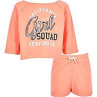 Girls pink sequin print sweatshirt outfit