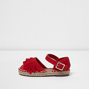 Mini girls coral ruffle espadrilles