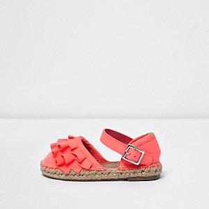 Mini girls light pink ruffle espadrilles