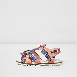 Mini girls orange tropical T-bar sandals