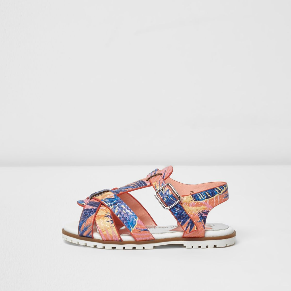 Mini girls orange tropical T-bar sandals