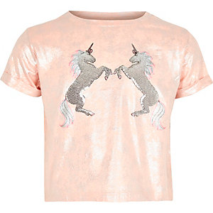 Kurzes, paillettenverziertes T-Shirt in Koralle