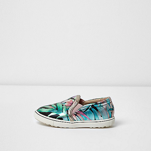 Mini girls pink metallic tropical plimsolls