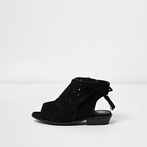 Mini girls black laser cut bow sandals