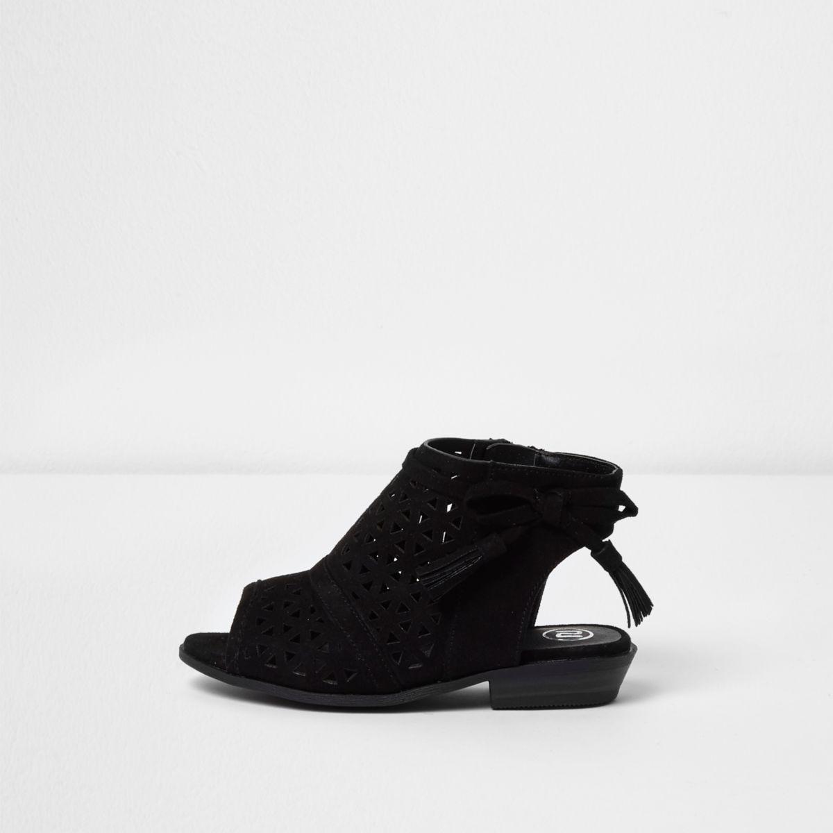 Mini girls black laser cut bow sandals