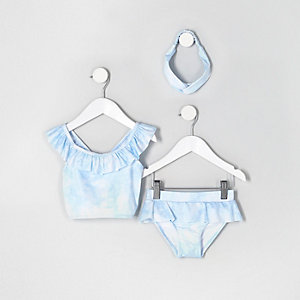 Tankini bleu effet tie-dye mini fille