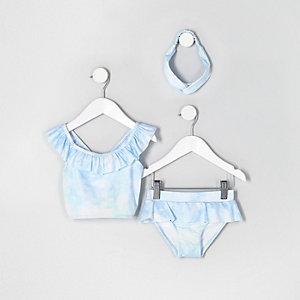 Mini - Blauwe tie-dye tankini voor meisjes