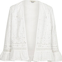 Girls cream broderie trophy jacket