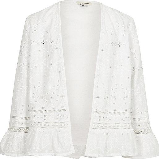 Girls cream broderie trophy jacket