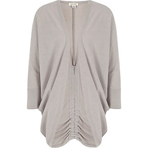 Girls grey knit ruched back cardigan