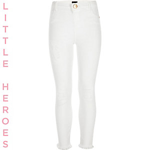 Girls white ripped raw hem Molly jeggings