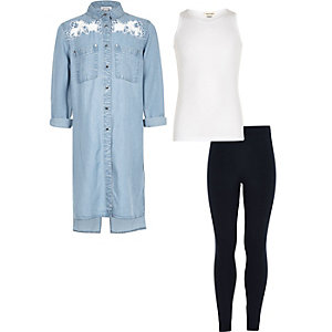 GIrls denim shirt leggings and lace top set