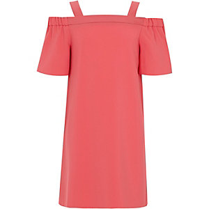 Girls coral short sleeve bardot dress