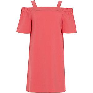 Girls coral short sleeve bardot dress