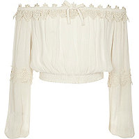 Girls cream lace bardot long sleeve crop top