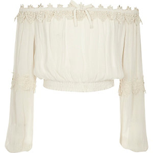 Girls cream lace bardot long sleeve crop top