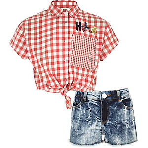 Girls red gingham print shirt outfit