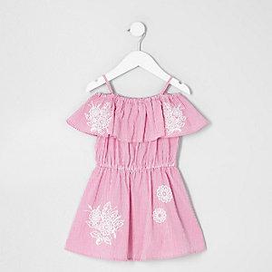 Mini - Roze bardotjurk met strepen voor meisjes